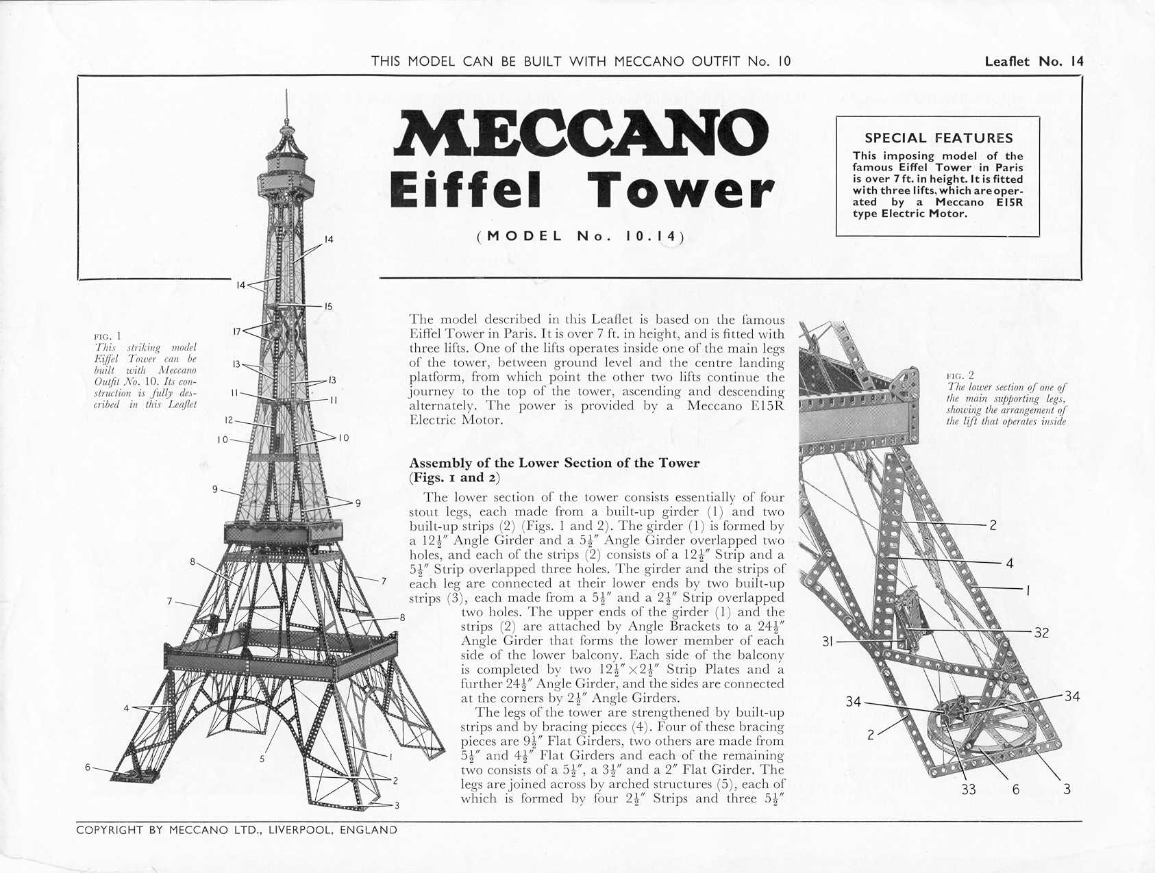 Meccano World The 3d Raddict Control Your Models Or Anything Else From Windows Pc No10 Outfit Instruction Leaflet